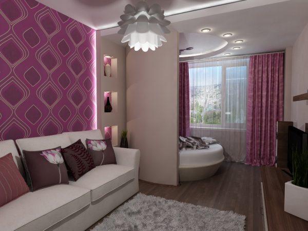 Гостиная и спальня в одной комнате: вариант зонирования