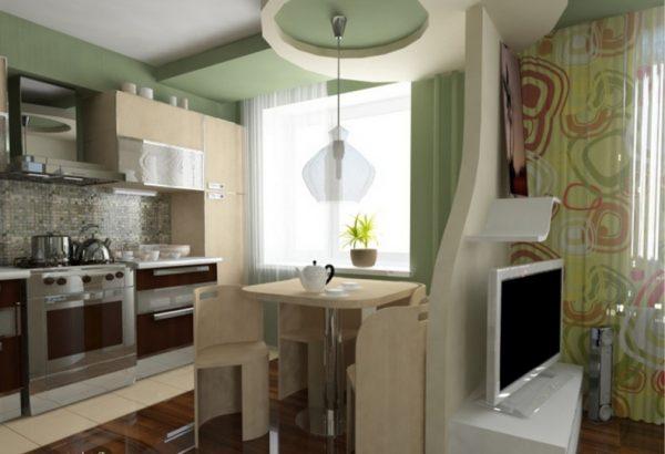 Зонирование цветом в кухне гостиной