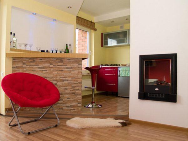 Зонирование кухни гостиной подиумом