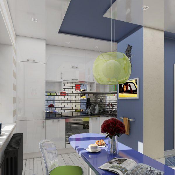 Интерьер кухни гостиной в стиле поп арт