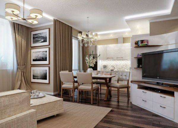 Совмещение пространства гостиной и кухни.