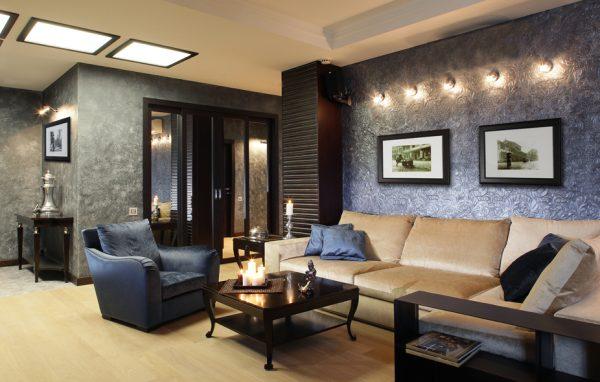 Роскошный интерьер гостиной в стиле арт деко