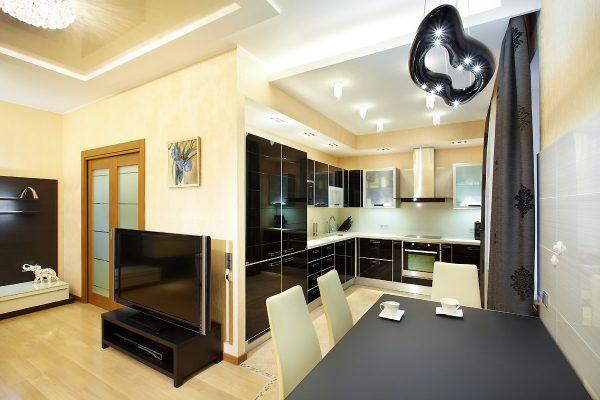 Интерьер кухни гостиной в современном стиле