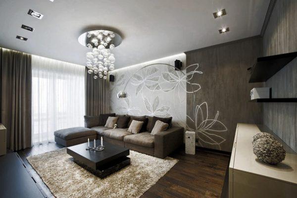 Серый цвет в минималистском интерьере гостиной