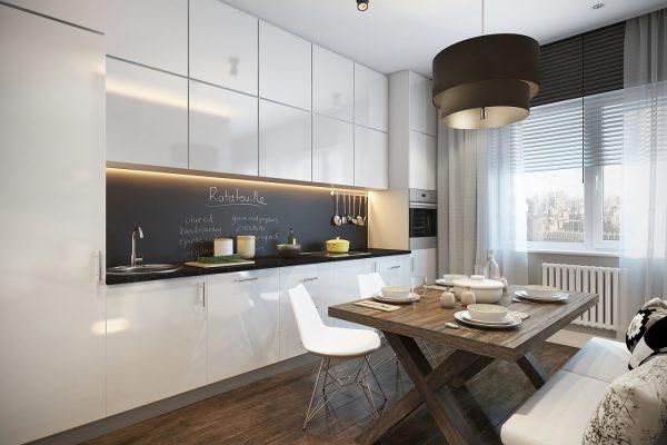 Минимализм в интерьере гостиной кухни
