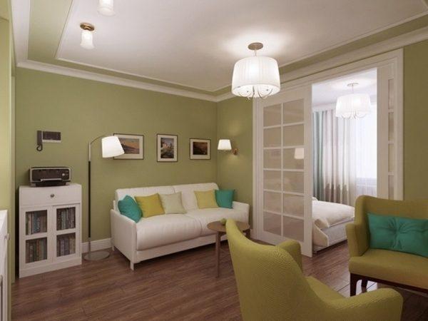 Дизайн интерьера спальни и гостиной совмещенной в одной комнате