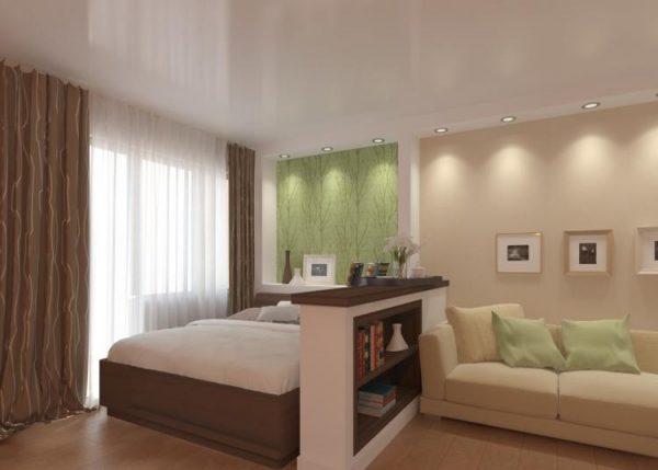 Планировка совмещенной спальни гостиной