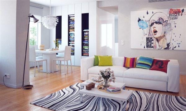 Белый диван с яркими декоративными подушками