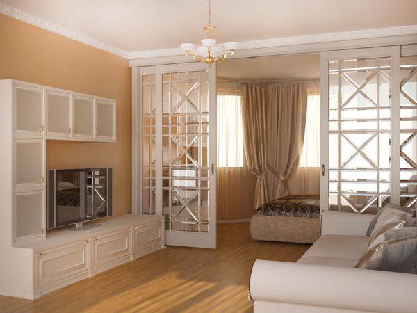 Раздвижные стеклянные двери для зонирования помещения