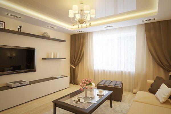 Бежево-коричневые шторы в гостиной