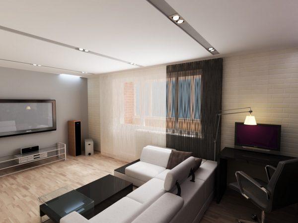 Гостиная и рабочий кабинет в одной комнате