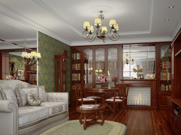 Английская гостиная с зеркалами