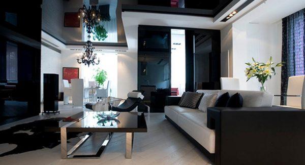 Черно-белая гостиная 18 кв м