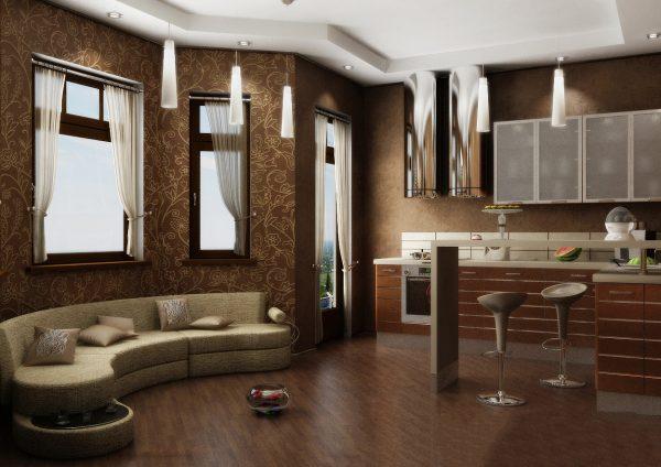 Интерьер кухни гостиной в коричневых тонах