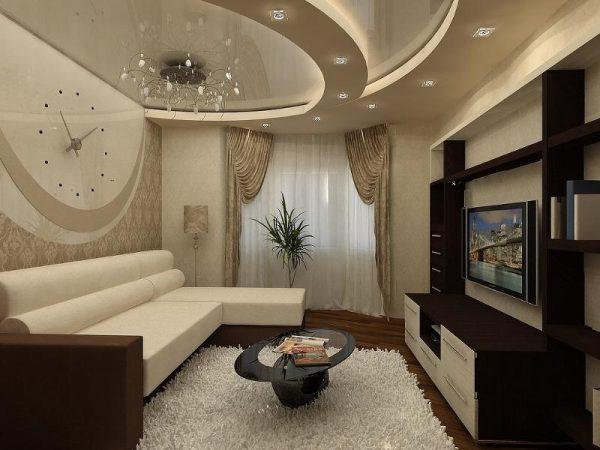 Дизайн современной гостиной с двухуровневым потолком