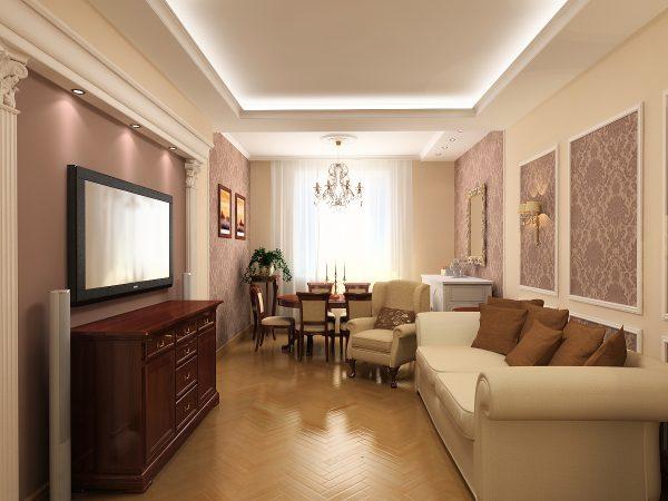 Интерьер узкой гостиной