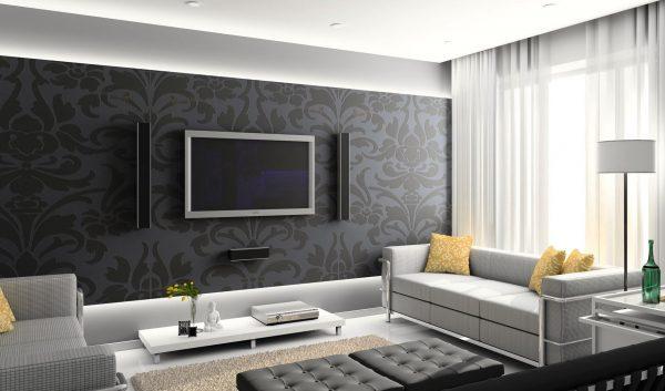 Интерьер гостиной: темные стены, светлая мебель