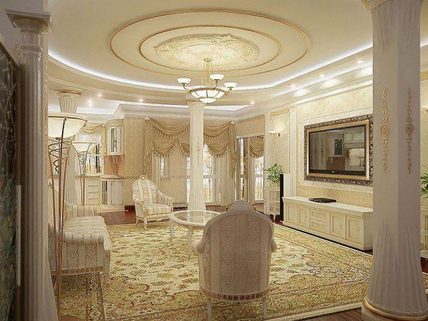 Белый потолок в классическом интерьере