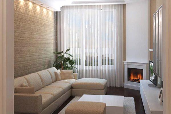 Уютная гостиная с угловым камином