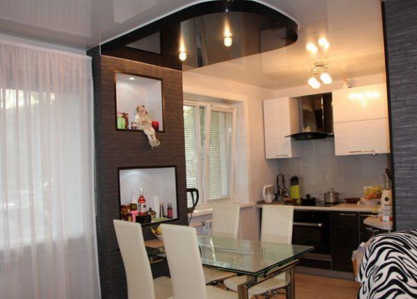 Дизайн комнаты кухня совмещённая с гостиной