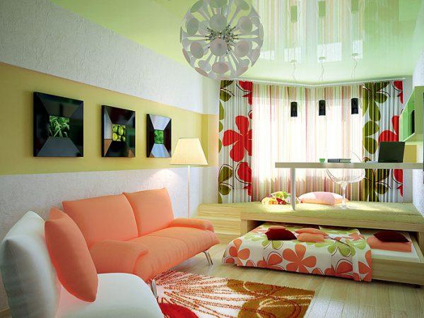Гостиная спальня с подиумом