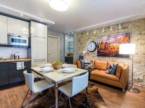 Дизайн квадратной кухни гостиной