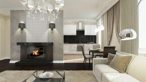 Дизайн маленькой кухни совмещенной с гостиной.