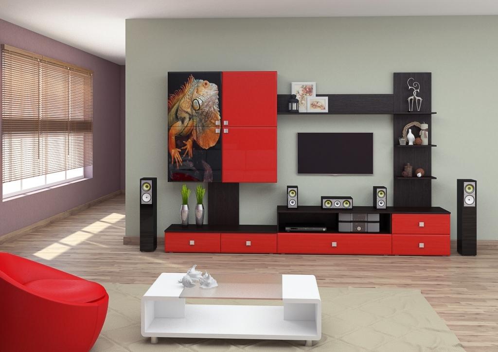 Современные модульные стенки в гостиную - 50 фото идей.
