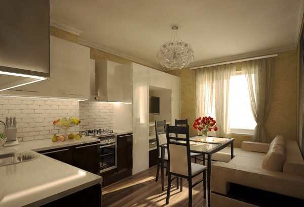 Интерьер бежевой кухни гостиной