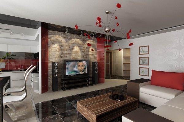 Отделка стен натуральным камнем в гостиной
