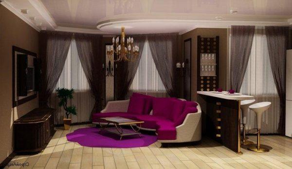 Угловой диван в интерьере гостиной кухни