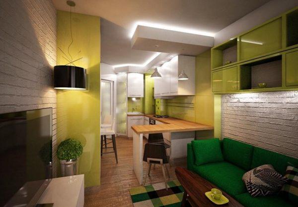 Яркая мебель в интерьере кухни гостиной