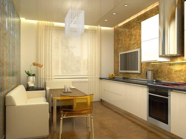 Удачное расположение предметов мебели в кухне гостиной