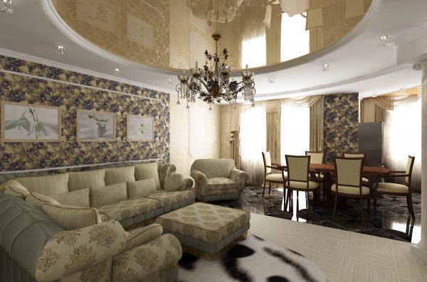 Кремовый дизайн интерьера гостиной комнаты в стиле классика