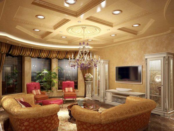 Классический дизайн потолка с кессоннами