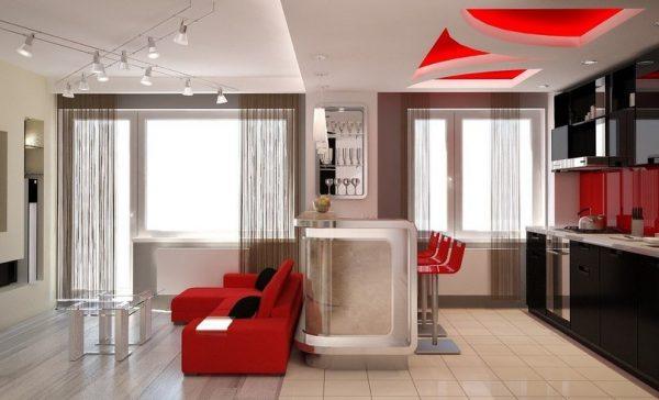 Дизайн потолков совмещенная кухня и гостиная.