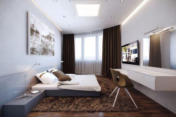 Шторы темно-коричневого цвета для светлой гостиной