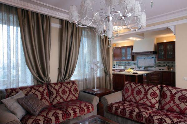 Классический стиль штор для гостиной