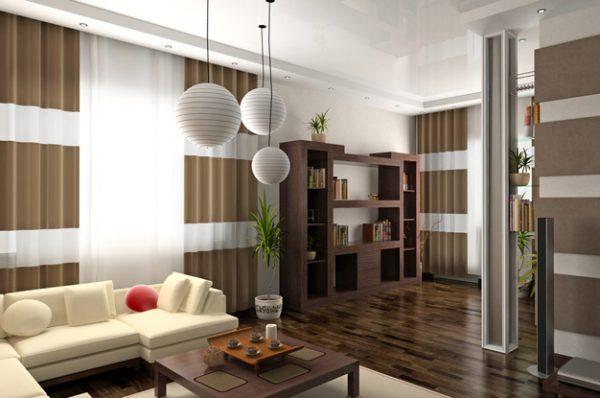 Нежный светлый коричневый текстиль в гостиной с белыми вставками.