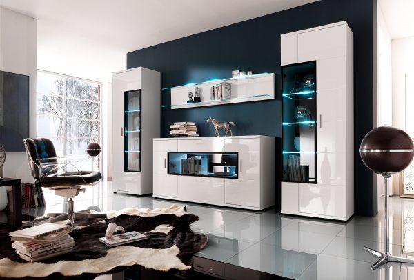 Белая глянцевая модульная стенка в гостиную