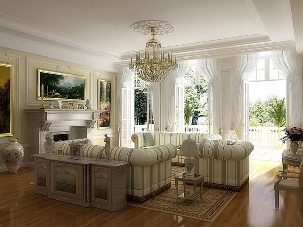 Белый матовый потолок в классической гостиной