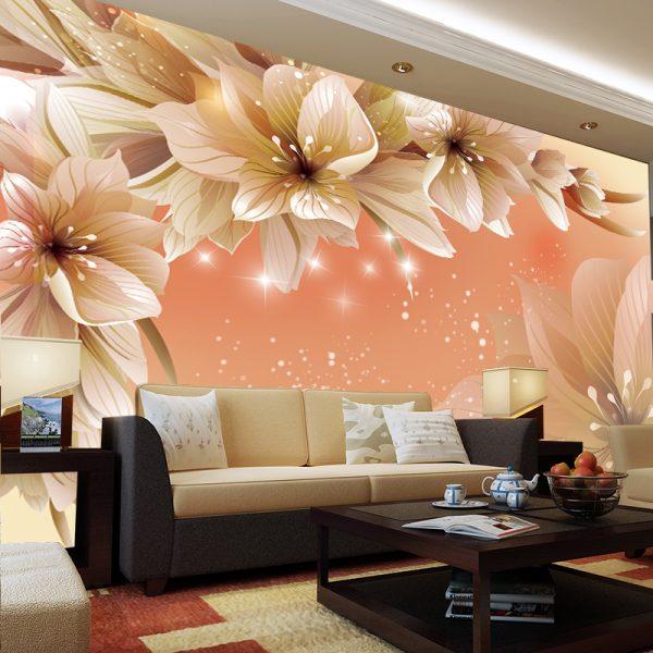 Фотообои с 3D рисунком в гостиной
