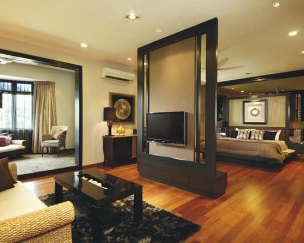 Дизайн спальни и гостиной: перегородка с плазменной панелью