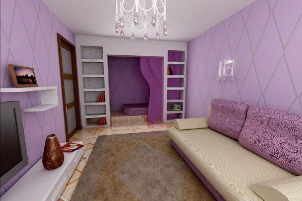 Интерьер спальни-гостиной 18 кв. в лиловом цвете