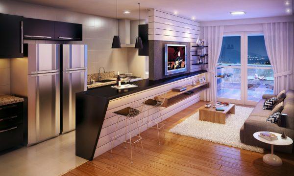 Барная стойка в интерьере гостиной кухни