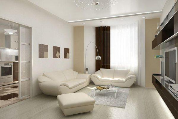 Светлая гостиная спальня