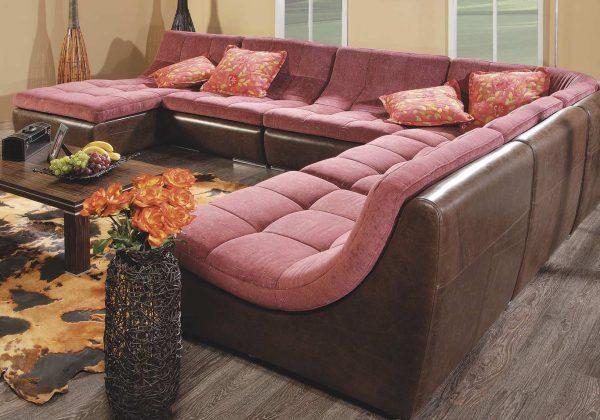 Мягкая модульная мебель: обивка из натуральной кожи и флока