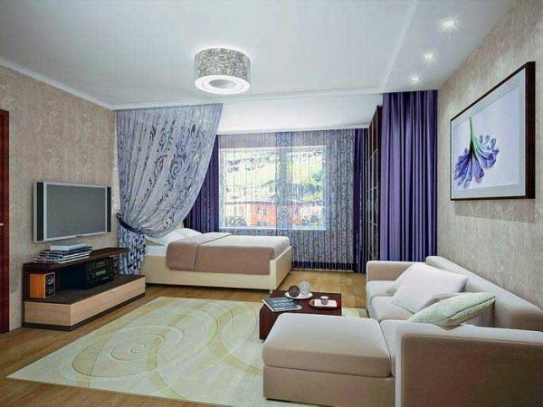 Дизайн комнаты с двумя зонами