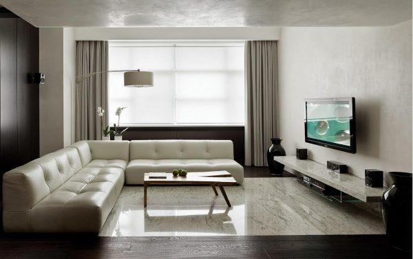 Белый кожаный диван для гостиной в стиле минимализм