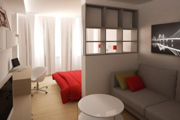 Дизайн гостиной спальни с перегородкой